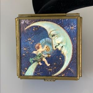 Man on the moon vintage blue glass ring box